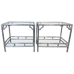 Pair of Midcentury 1960s Aluminum Faux Bamboo Side Tables with Glass Shelves