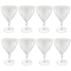Set of Eight Cut Crystal Wine Goblets by Josair
