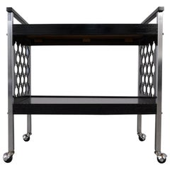 Middle Eastern Design Infused Black and Chrome Bar Cart