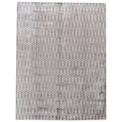 Contemporary Silver Silk Area Rug