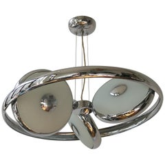One off Three Adjustable Italian Glass and Chrome Ufo Chandeliers