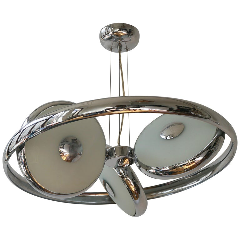 One off Three Adjustable Italian Glass and Chrome Ufo Chandeliers For Sale