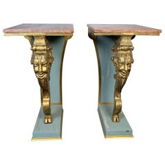 Italian Pair of Carved Wood Gilt Pedestals With Marble Top, circa 19th Century