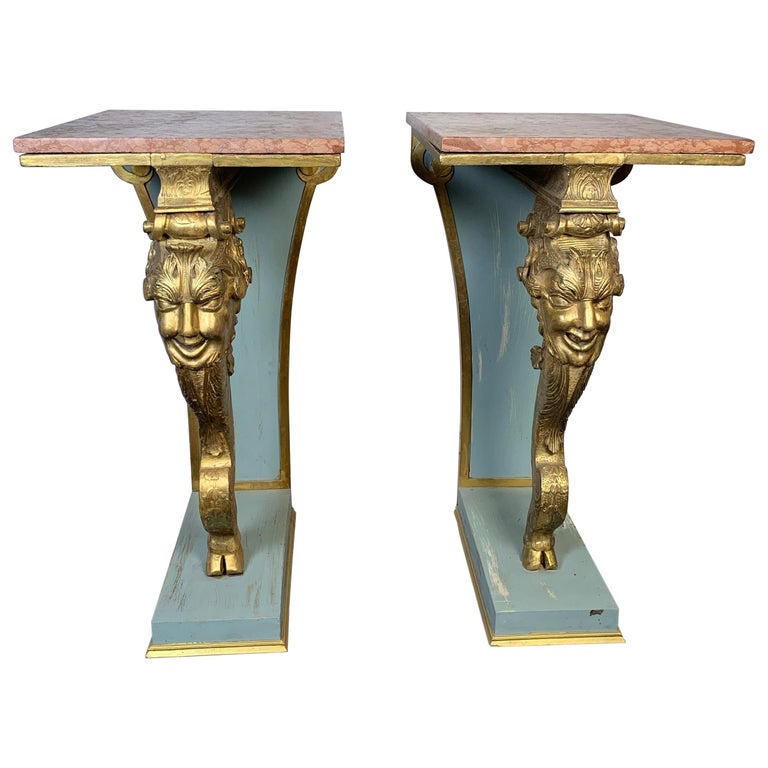 Italian Pair of Carved Wood Gilt Pedestals With Marble Top, circa 19th Century For Sale