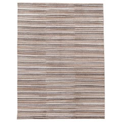 Contemporary Brown Striped Wool and Silk Room-Size Area Rug