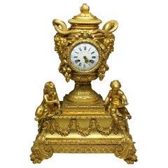 French Louis XVI Style Figural Gilt Bronze Mantel Clock - Étienne Le Noir, Paris