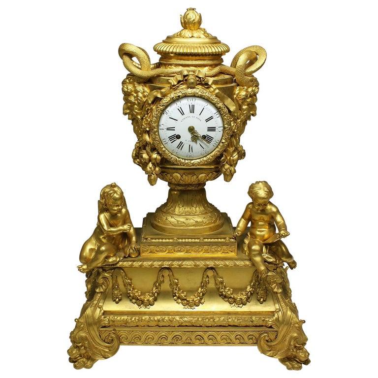 French Louis XVI Style Figural Gilt Bronze Mantel Clock - Étienne Le Noir, Paris For Sale