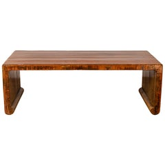 Chinese Antique Wooden Waterfall Coffee Table with Distressed Lacquered Patina