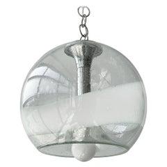 Mazzega White Stripe Murano Glass Globe Pendant Chandelier