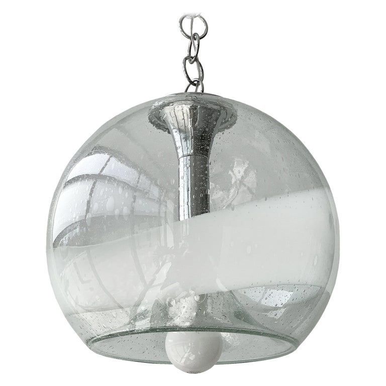 Mazzega White Stripe Murano Glass Globe Pendant Chandelier For Sale