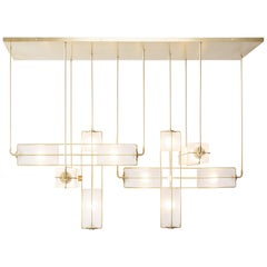 Alice Wide Chandelier Sandblasted Hand Blown Glass in Solid Brass or Blackened