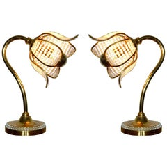 Pair Hollywood Regency Gilt Brass Crystal Bakalowits Sunburst Flower Table Lamps
