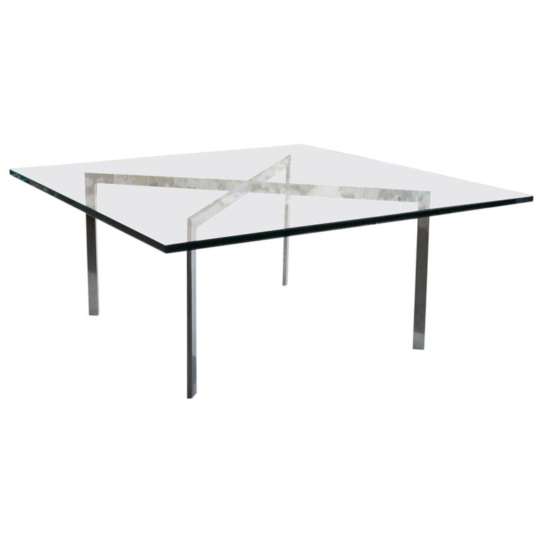 Mies Van Der Rohe for Knoll Glass and Chrome Coffee Table For Sale
