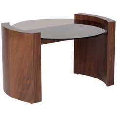 Jia Small Coffee Table in Solid Walnut Wood with Glass Top