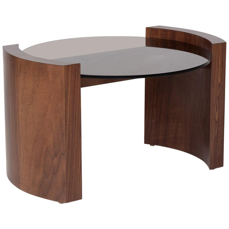 Jia Small Coffee Table in Solid Walnut Wood with Glass Top For Sale