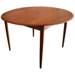 Round Danish Teak Dining Table by Arne Hovmand-Olsen for Mogens Kold, Denmark