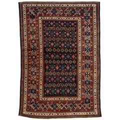 Antique Caucasian Chi-Chi Kuba Decorative Rug in Navy, Coral, Green and Yellow