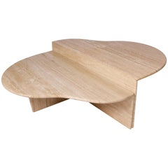 Biomorphic Shape Italian Travertine Coffee Table