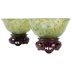 Pair of Bowenite Cups, Asian Art, Antiquity, Mid 20th Century, China