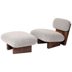 Jia Upholstered Lounge Chair and Ottoman in Walnut and COM