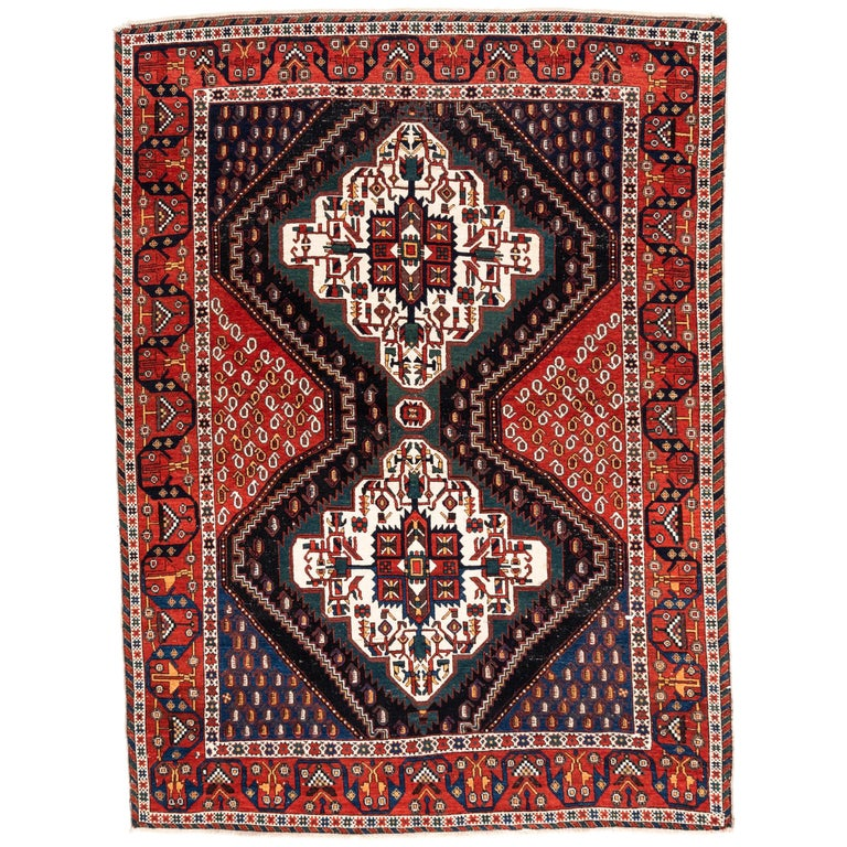 Ivory Wool And Silk Persian Naein Area Rug For Sale At 1stdibs: Antique Persian Afshar Tribal In Rug Red, Blue, Green And
