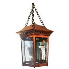 Hexagonal Geometric Copper Hanging Ceiling Light Lantern Pendant Antique