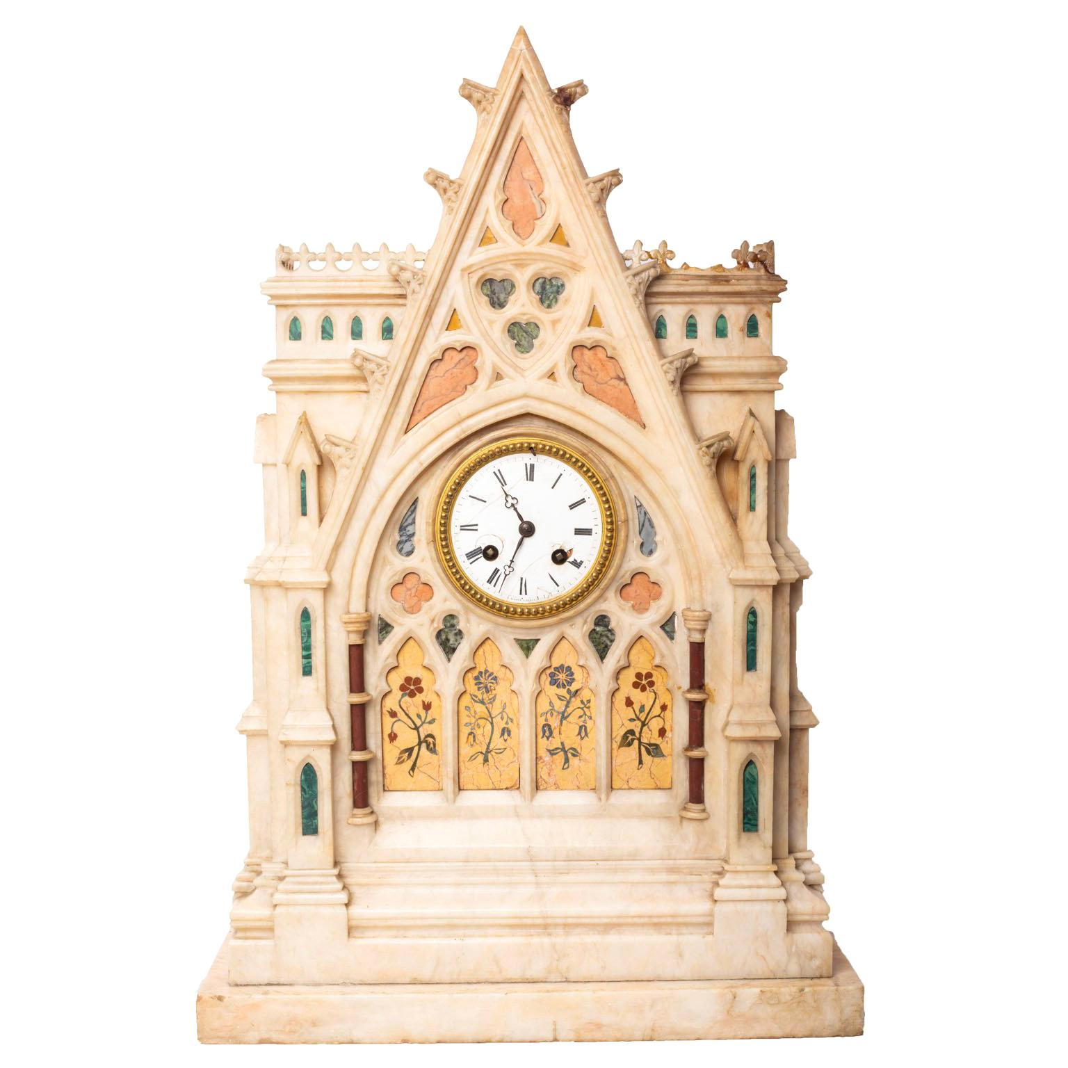 French Gothic Style Inlaid Marble Mantel Clock Dial Signed H. Azur à Paris