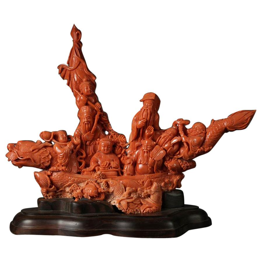 Exceptional Chinese Carved Coral Figural Group of a Boat with Eight Immortals