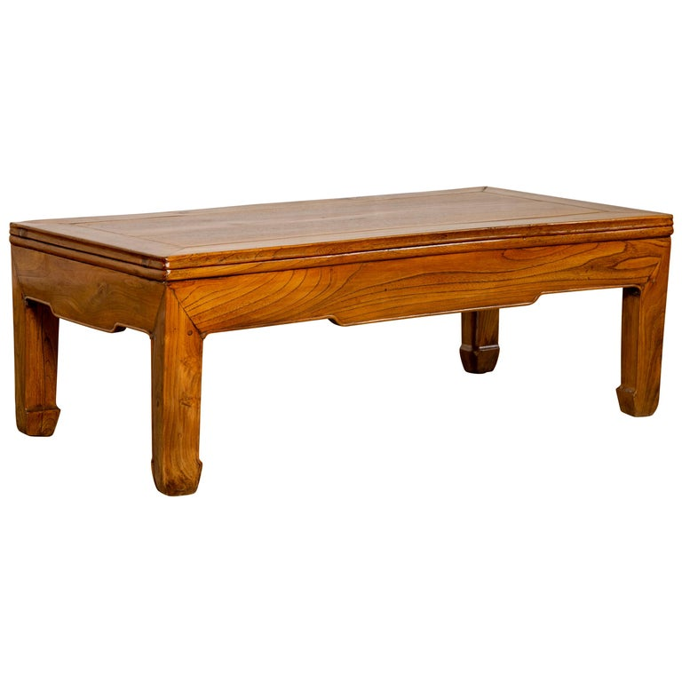 Natural Wood Coffee Table.Small Chinese Vintage Natural Wood Coffee Table With Straight Horse Hoof Legs