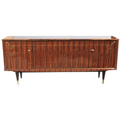 French Vintage Exotic Macassar Ebony Sideboard or Buffet, circa 1940s