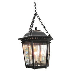 Large Hanging Hexagonal Painted Iron Ceiling Lantern Pendant Light Antique, LA