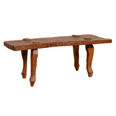 Rustic Javanese Freeform Low Bench Made of Antique Reclaimed Teak Textured Wood
