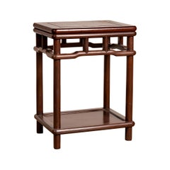 Chinese Ming Style Accent Side Table with Dark Wood Patina and Humpback Apron