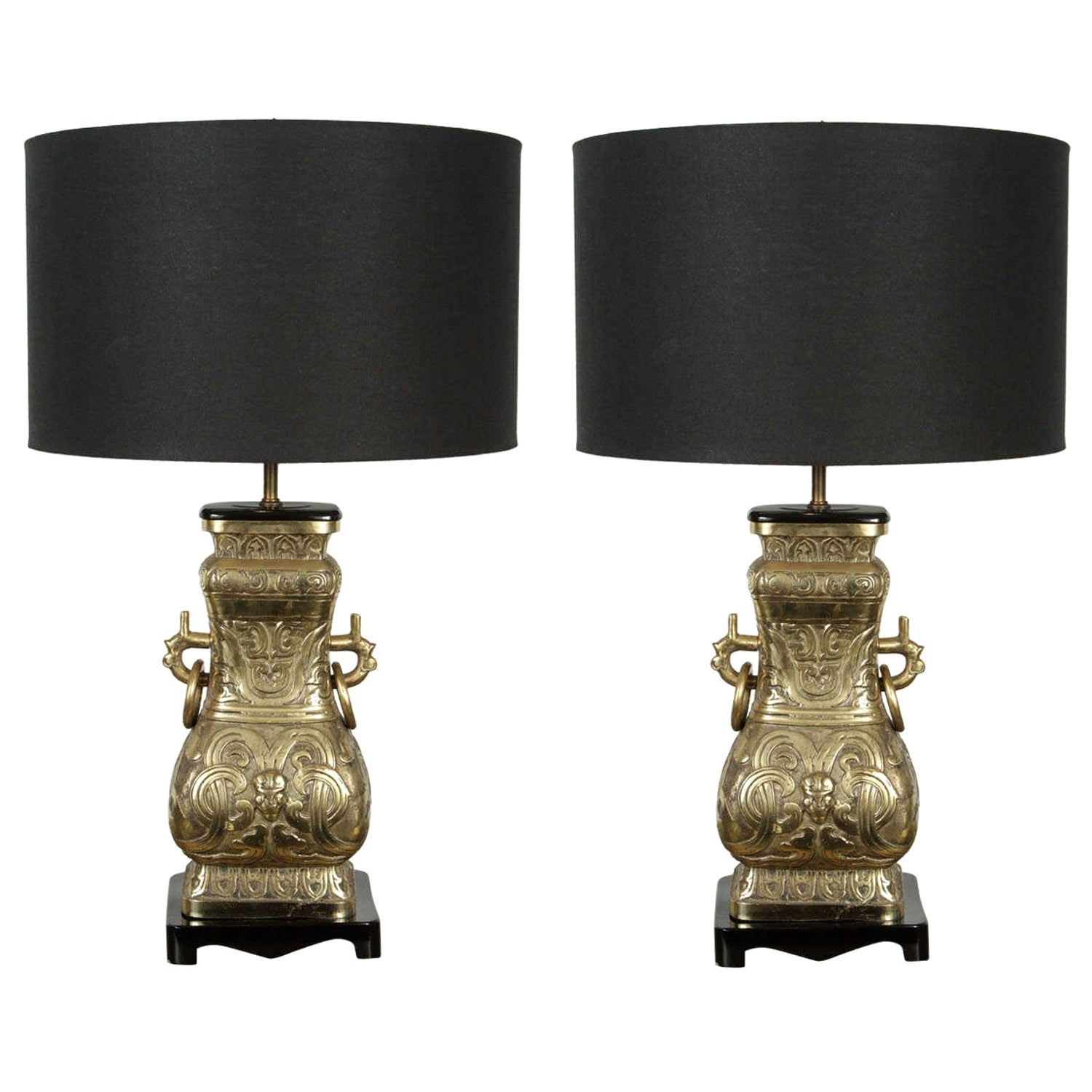 Pair of Chinese Archaistic Brass Table Lamps, 1940s