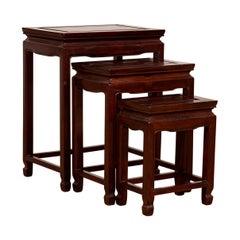 Set of Three Vintage Chinese Rosewood Nesting Tables with Dark Patina