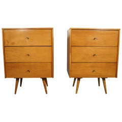 Midcentury Paul McCobb Triple Drawer #1506 Nightstands Blonde Maple Brass Pulls