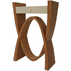 Sculptural Wood Console Cabinet with Bamboo Veneer and Painted Top