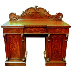 Antique English Book-Matched Flame Mahogany Victorian Sideboard
