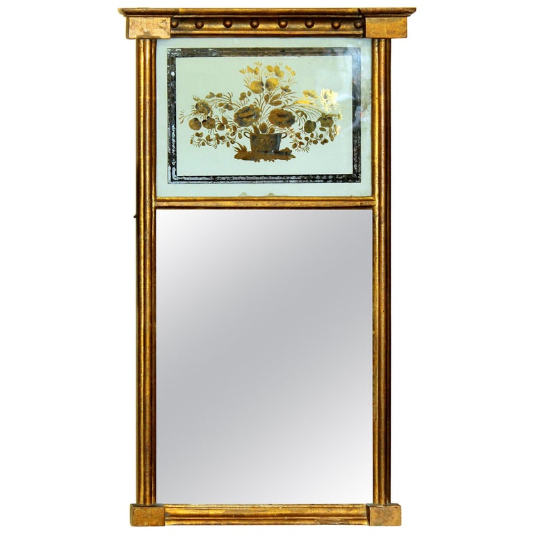 Antique American Federal Signed Period Giltwood and Eglomisé Diminutive Mirror For Sale