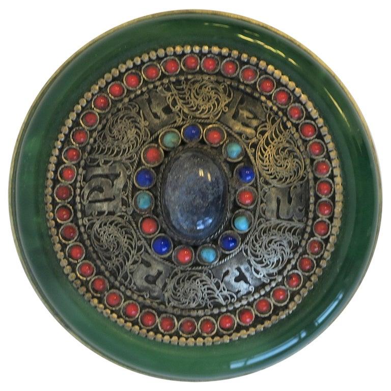 Tibetan Sterling Silver Ceremonial Box For Sale