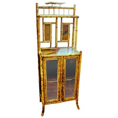 "Antique English ""Anglo-Japan"" Victorian Hand Painted Two-Door Cabinet or Etagere"