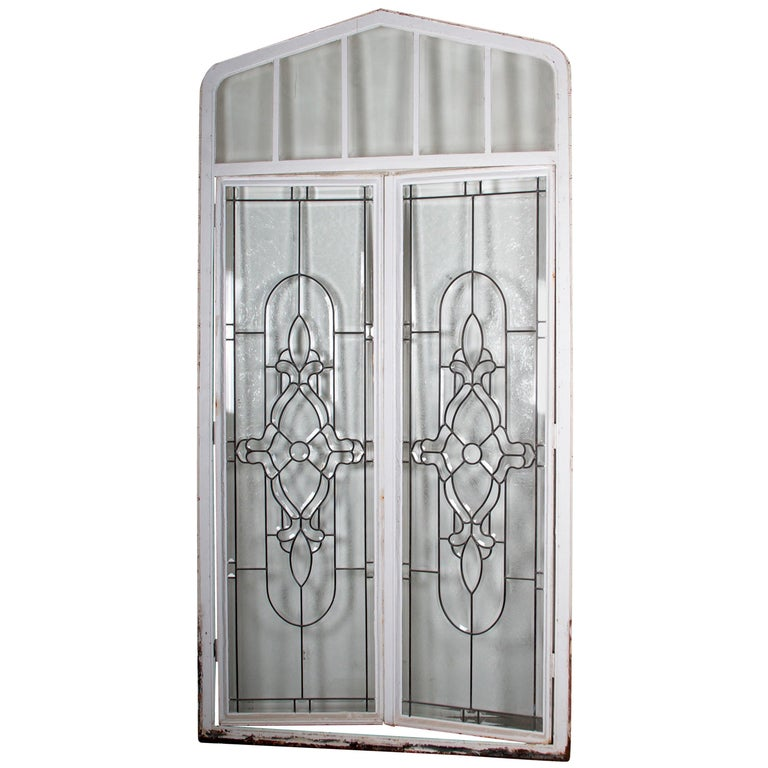 Beveled Leaded Glass Window, circa 1910, 1 Window For Sale