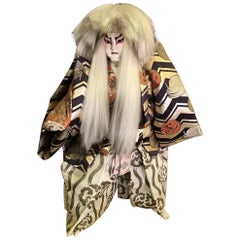 Large Japanese Kabuki Actor Doll on Wood Display Stand