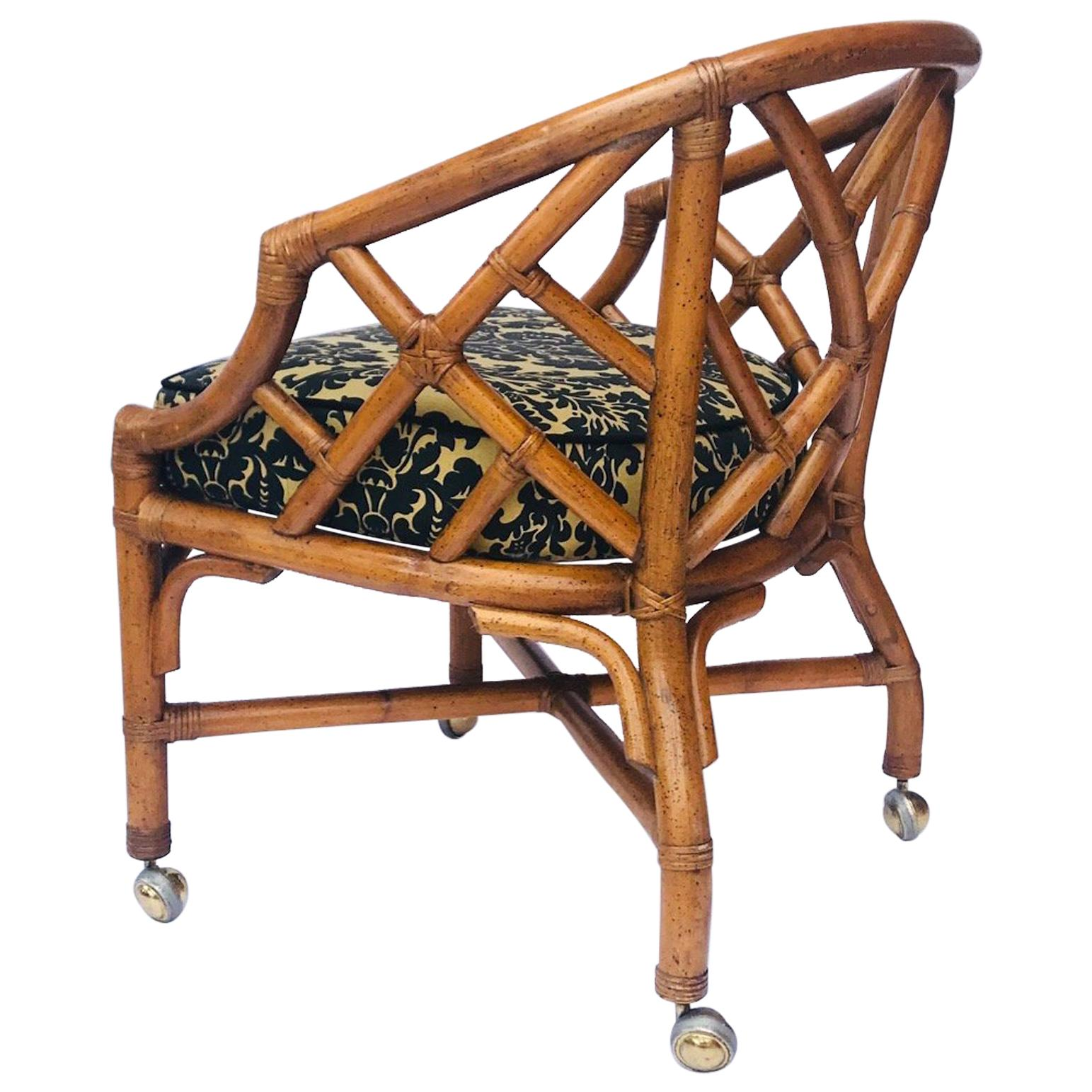 1970s Bamboo and Rattan Chippendale Swivel Desk Chair