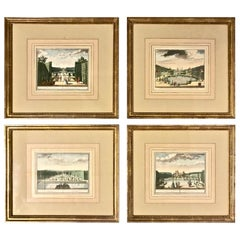 18th Century Dutch Engravings of Gardens, Set of 4