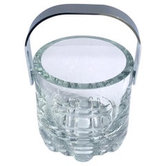 1970s Vintage Crystal Ice Bucket with Ice Glass Design