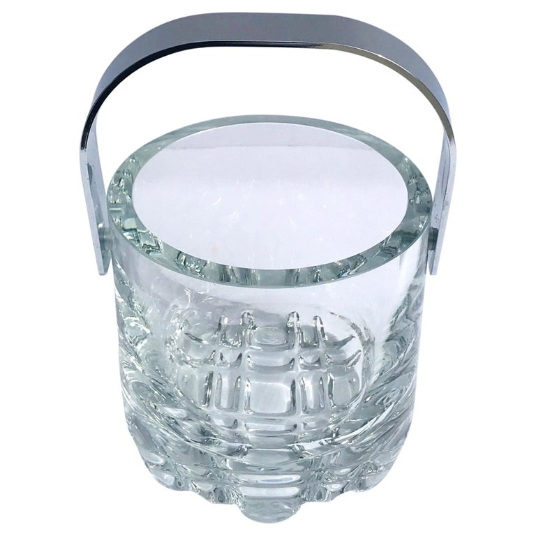 1970s Vintage Crystal Ice Bucket with Ice Glass Design For Sale