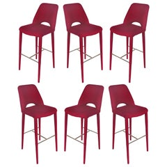 Upholstered Bar Stools with Chrome Footrests, 36 Available