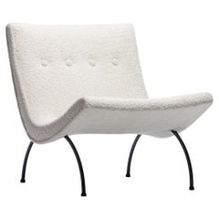 Ivory Shearling  Milo Baughman Scoop Chair With Iron legs, Circa 1950s