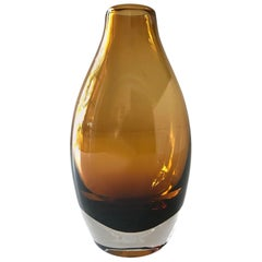 Vintage Scandinavian Modern Sommerso Glass Vase in Amber, 1970s